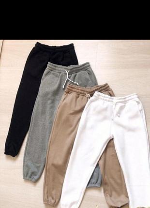 Женские  спортивные штаны флис норма и батал 3-х нитка флис чёрный, меланж, графит, беж
