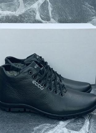 Мужские зимние ботинки ecco classic winter boots кожаные,черные