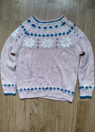 Новогодний свитер розовый со снежинками кофта вязаная