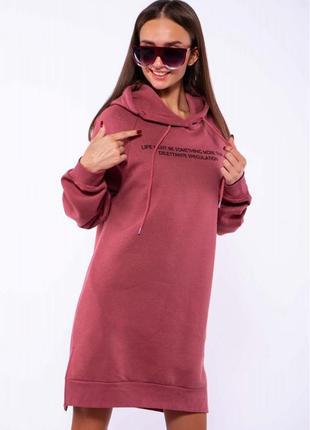 Женское  платье -  туника на флисе - разные цвета1 фото