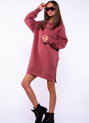 Женское  платье -  туника на флисе - разные цвета2 фото
