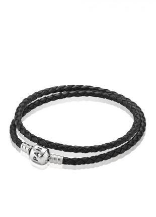 Женский кожаный двойной браслет , серебро 925