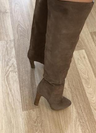 Ботинки сапоги ботфорты uterque испания нубук кожа каблук