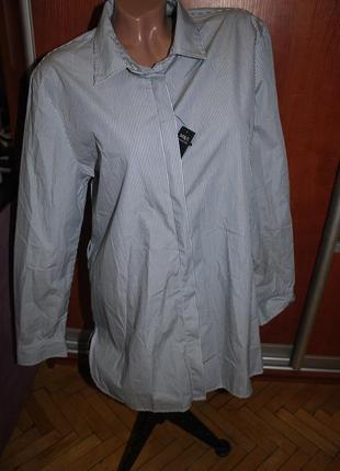Рубашка женская полосатая удлиненная стильная модная белая с синими полосами