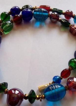 Красивые бусы ожерелье , стекло мурано, лэмпворк. италия