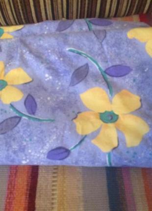 Теплый пододеяльник голубой в цветочек,фланель,германия