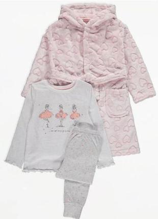 Шикарный комплект для девочки плюшевый халат и пижама george великобритания