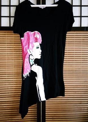 Туника футболка платье вискоза 100% с рисунком