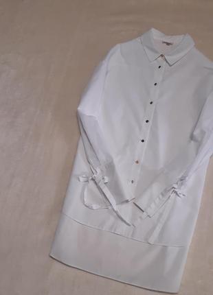Белая рубашка блуза свободного стиля оверсайз рукав завязки размер 8 river island