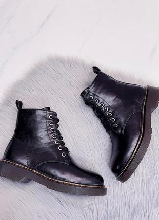 Кожаные ботинки черные на зиму