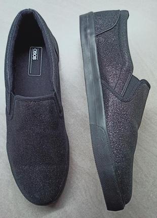 Черные кеды-слипоны с блестками asos. мокасины 41