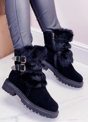 Ботинки зимние натуральная замша
