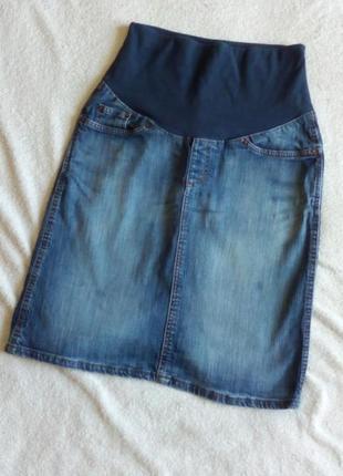 Джинсовая миди юбка с трикотажной вставкой/бандажом для беременных/кормящих