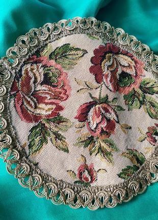 Винтажная круглая гобеленовая салфетка, цветы гобелен