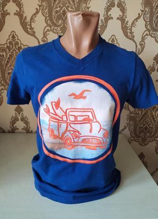Hollister мужская синяя футболка с принтом