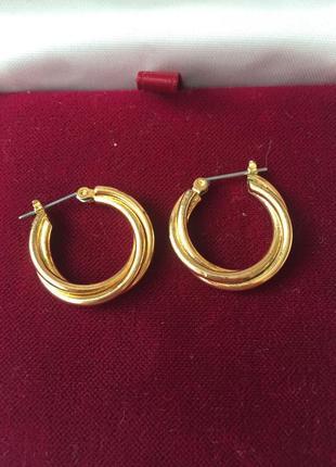 Винтажные серьги-кольца золотистые