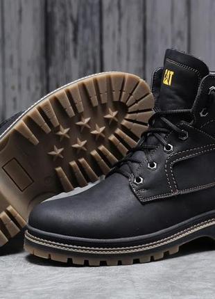 Зимние кожаные мужские ботинки на меху cat caterpilar anti-glide черные