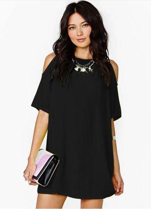 Трендовое фактурное платье с открытыми плечами (подойдет для беременной)