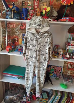 Плюшевая пижама кигуруми matalan енот на 3-4 года, 98-104 см