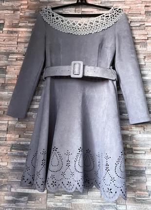 Замшевое платье серо-голубое