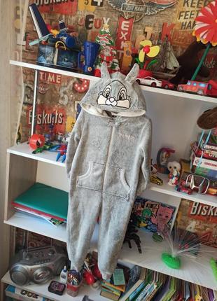 Плюшевая пижама кигуруми зайчик на 4-5 лет, 104-110 см