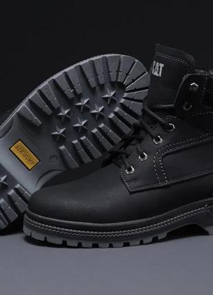 Зимние мужские ботинки на меху cat caterpilar anti-glide черные на серой подошве