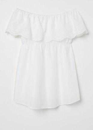 Белоснежная блуза 100% коттон с вышивкой от h&m mama  size l