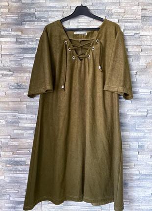 Оливковое платье со шнуровкой (хаки)