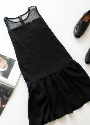 Красивое черное платье сетка с оборками по низу хс с