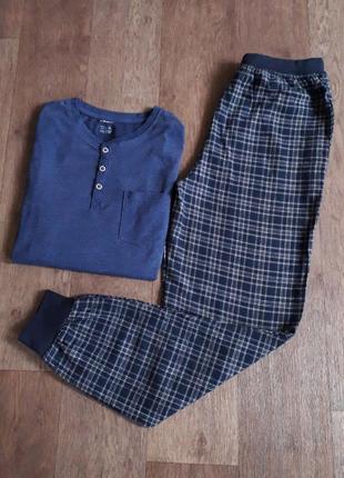 Теплая пижама, домашний костюм штаны фланель кофта трикотаж livergy германия размер 44/46