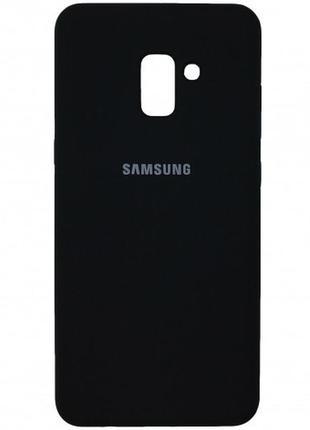 Чехол silicone cover для samsung a8 2018 с микрофиброй black