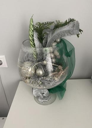 Декор новогодний в вазе-бокале