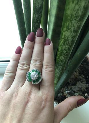 Кольцо с нефритом 925 проба.