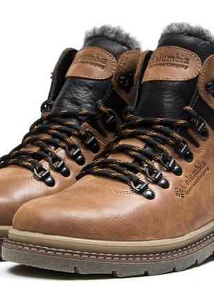 Мужские зимние ботинки на меху в стиле columbia sportwear, натуральная кожа, оливковые