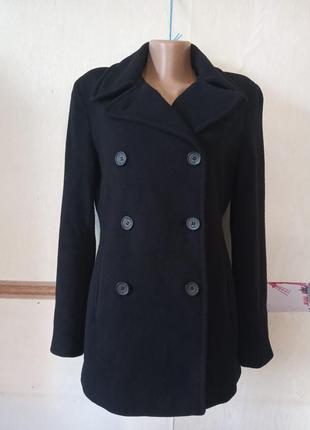 Черное шерстяное пальто куртка calvin klein