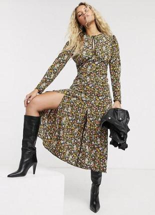 Платье topshop миди с полуоткрытой спиной и разрезом с asos