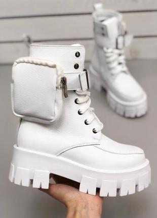 💥белые ботинки тракторная подошва натуральная кожа. белая обувь тренд осень зима