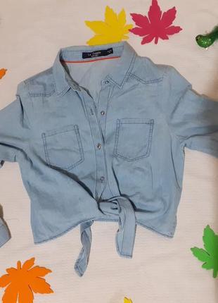 Рубашка джинсовая джинс на завязках укороченная короткая стильная шикарная