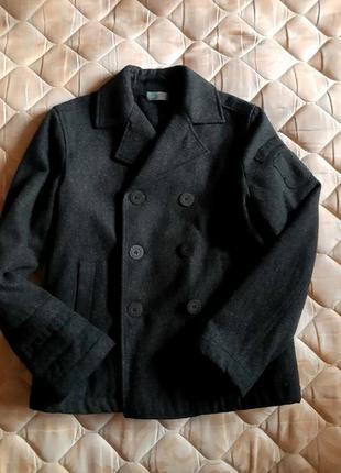 Стильное модное теплое пальто-пиджак 10-11 лет, 150 см рост