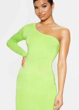 Облегающее платье на одно плечо с длинным рукавом неонового цвета лайма