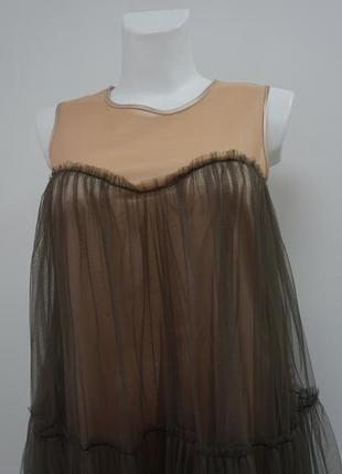 Платье выпускное бежевое фатиновое