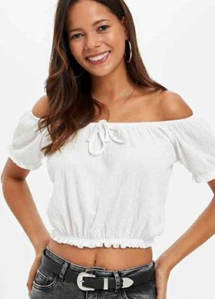 Новая белая блуза кроп топ на резинке и завязках в плесировку