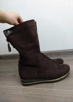 Коричневые сапоги под замш ботинки ботиночки