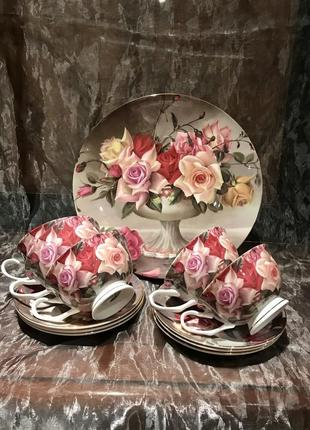 Австралийский фарфор. чайный сервиз с блюдом. розы.