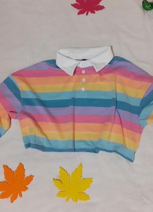 Рубашка радуга яркая короткая укороченная кроп топ с воротом воротником