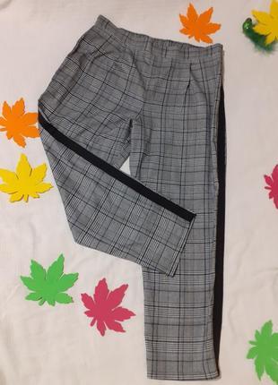 Брюки в клетку штаны в клеточку с лампасами полосками на резинке шикарные стильные
