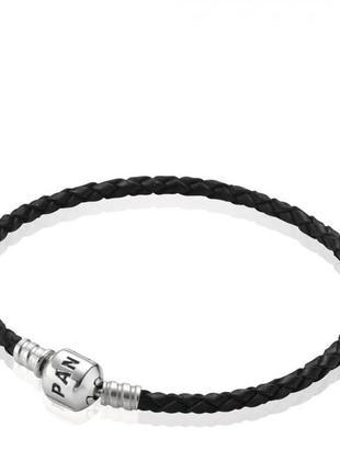 Женский кожаный браслет, серебро 925