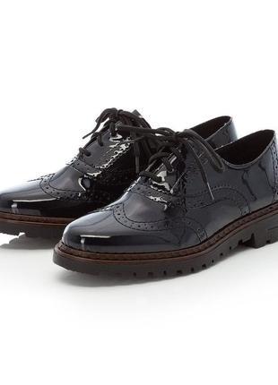 Нові.нова колекція туфлі глянець люкс бренду ladies dark blue lace up shoes