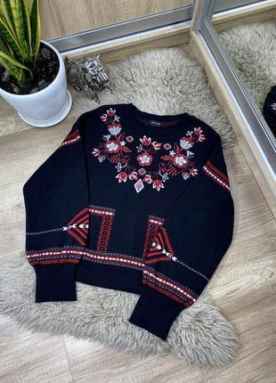 Шикарный женский свитер/свитшот с вышивкой new look/zara/bershka/mango