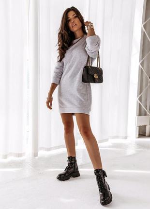 Платье теплое трикотажное на флисе серое